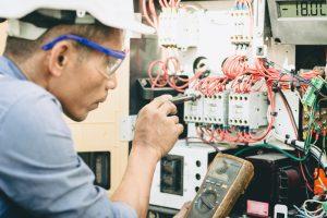 Engineer performing maintenance